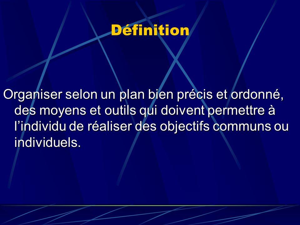 Définition Organiser selon un plan bien précis et ordonné, des moyens et outils qui doivent permettre à lindividu de réaliser des objectifs communs ou