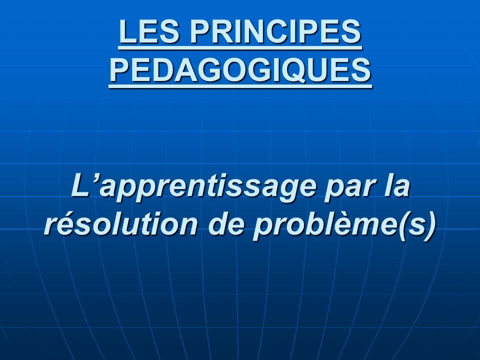 LES PRINCIPES PEDAGOGIQUES Lapprentissage par la résolution de problème(s)