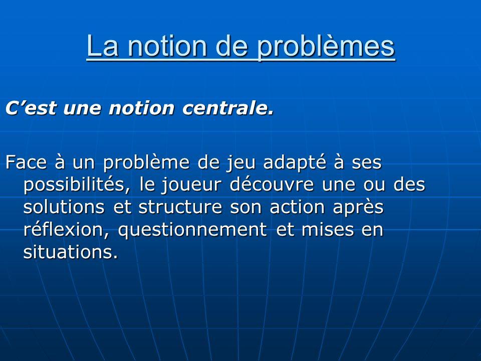 La notion de problèmes Cest une notion centrale. Face à un problème de jeu adapté à ses possibilités, le joueur découvre une ou des solutions et struc