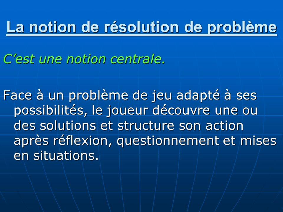 La notion de résolution de problème Cest une notion centrale. Face à un problème de jeu adapté à ses possibilités, le joueur découvre une ou des solut
