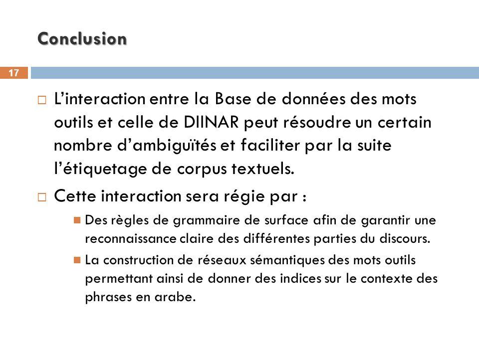17 Conclusion Linteraction entre la Base de données des mots outils et celle de DIINAR peut résoudre un certain nombre dambiguïtés et faciliter par la