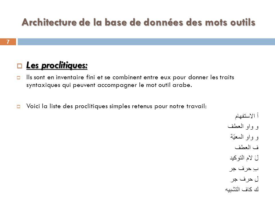 8 Architecture de la base de données des mots outils Les proclitiques se combinent entre eux pour donner une liste de 26 éléments.