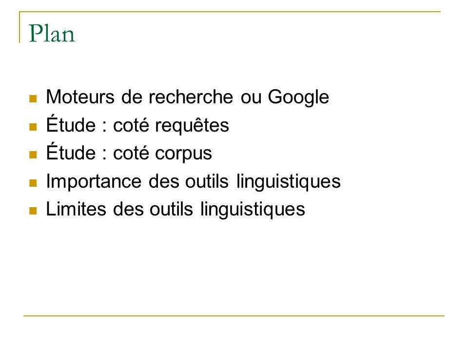 Plan Moteurs de recherche ou Google Étude : coté requêtes Étude : coté corpus Importance des outils linguistiques Limites des outils linguistiques
