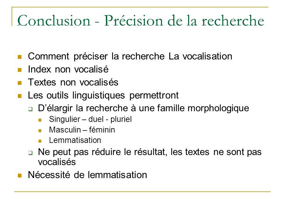 ِ Conclusion - Précision de la recherche Comment préciser la recherche La vocalisation Index non vocalisé Textes non vocalisés Les outils linguistique