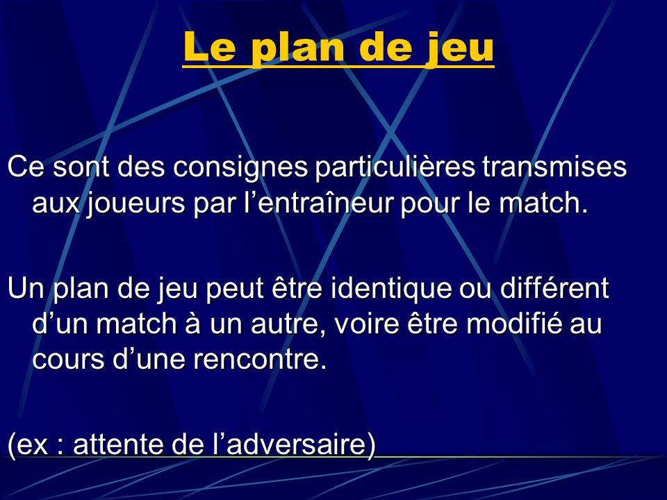 Le plan de jeu Ce sont des consignes particulières transmises aux joueurs par lentraîneur pour le match. Un plan de jeu peut être identique ou différe
