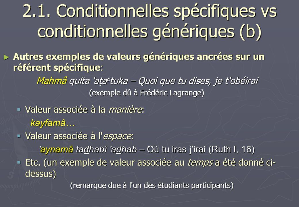 2.1. Conditionnelles spécifiques vs conditionnelles génériques (b) Autres exemples de valeurs génériques ancrées sur un référent spécifique: Autres ex