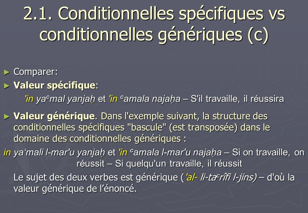 2.1. Conditionnelles spécifiques vs conditionnelles génériques (c) Comparer: Comparer: Valeur spécifique: Valeur spécifique: 'in ya c mal yanjah et 'i