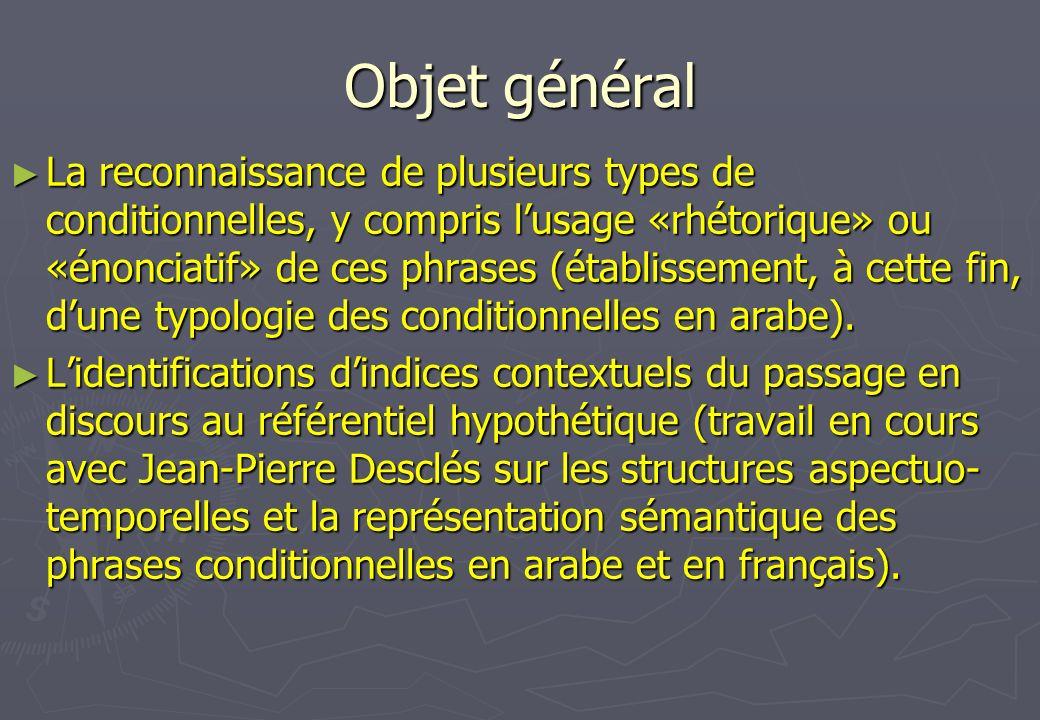Objet général La reconnaissance de plusieurs types de conditionnelles, y compris lusage «rhétorique» ou «énonciatif» de ces phrases (établissement, à
