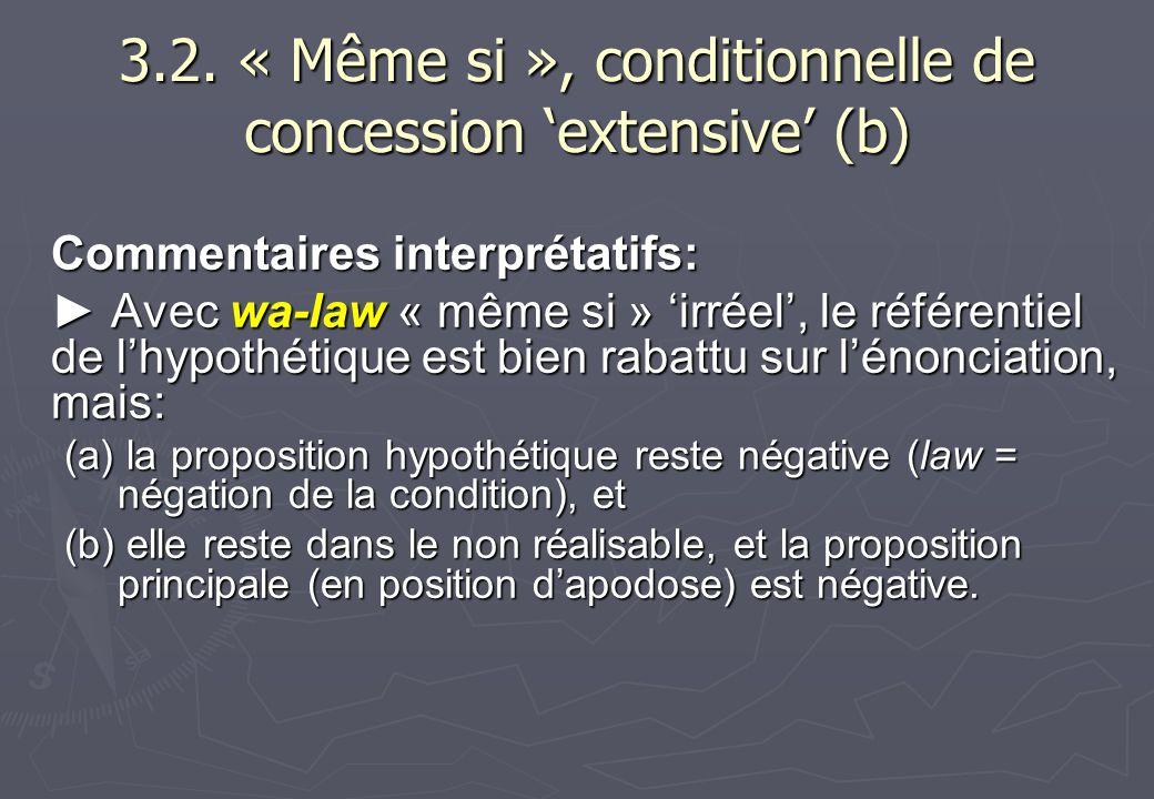 3.2. « Même si », conditionnelle de concession extensive (b) Commentaires interprétatifs: Avec wa-law « même si » irréel, le référentiel de lhypothéti
