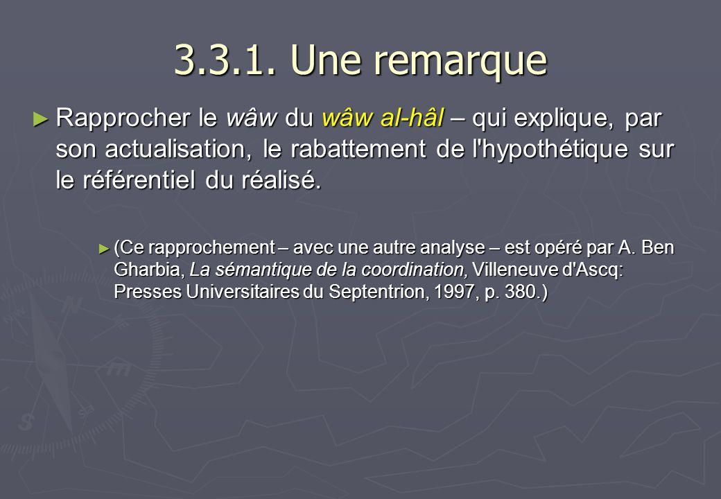 3.3.1. Une remarque Rapprocher le wâw du wâw al-hâl – qui explique, par son actualisation, le rabattement de l'hypothétique sur le référentiel du réal