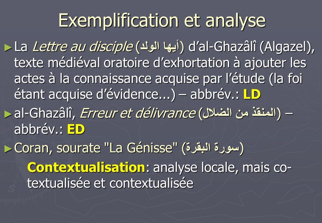 Exemplification et analyse La Lettre au disciple ( أيها الولد ) dal-Ghazâlî (Algazel), texte médiéval oratoire dexhortation à ajouter les actes à la c