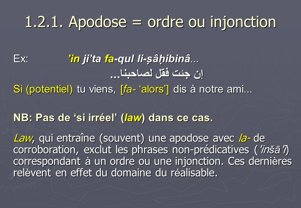 1.2.1. Apodose = ordre ou injonction Ex: in jita fa-qul li-ṣâḥibinâ... إن جئت فقل لصاحبنا... Si (potentiel) tu viens, [fa- alors] dis à notre ami...
