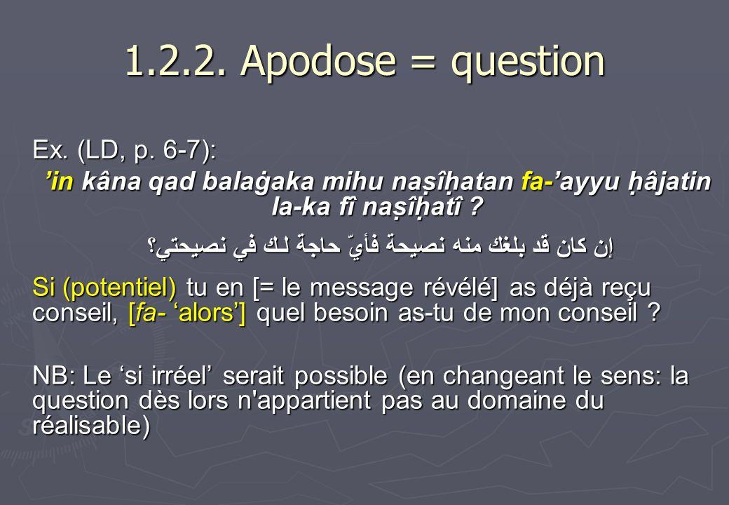 1.2.2. Apodose = question Ex. (LD, p. 6-7): in kâna qad balaġaka mihu naṣîḥatan fa-ayyu ḥâjatin la-ka fî naṣîḥatî ? إن كان قد بلغك منه نصيحة فأيّ
