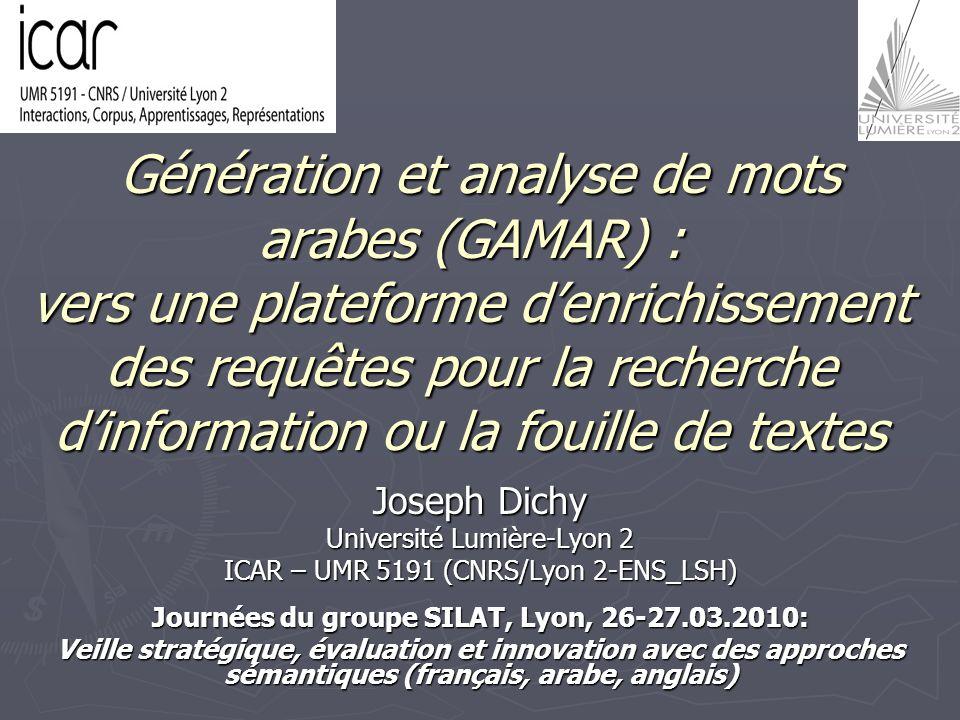 Génération et analyse de mots arabes (GAMAR) : vers une plateforme denrichissement des requêtes pour la recherche dinformation ou la fouille de textes