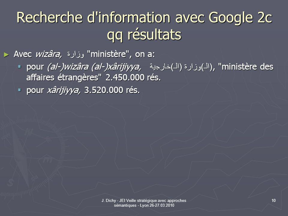 J. Dichy - JEI Veille stratégique avec approches sémantiques - Lyon 26-27.03.2010 10 Recherche d'information avec Google 2c qq résultats Avec wizâra,