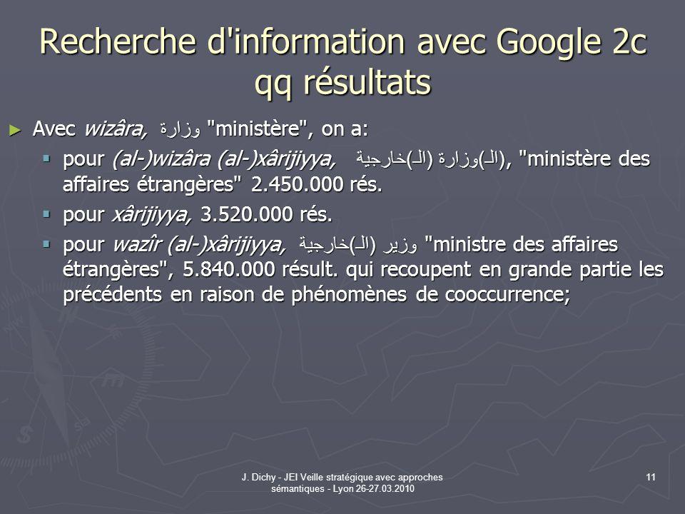 J. Dichy - JEI Veille stratégique avec approches sémantiques - Lyon 26-27.03.2010 11 Recherche d'information avec Google 2c qq résultats Avec wizâra,