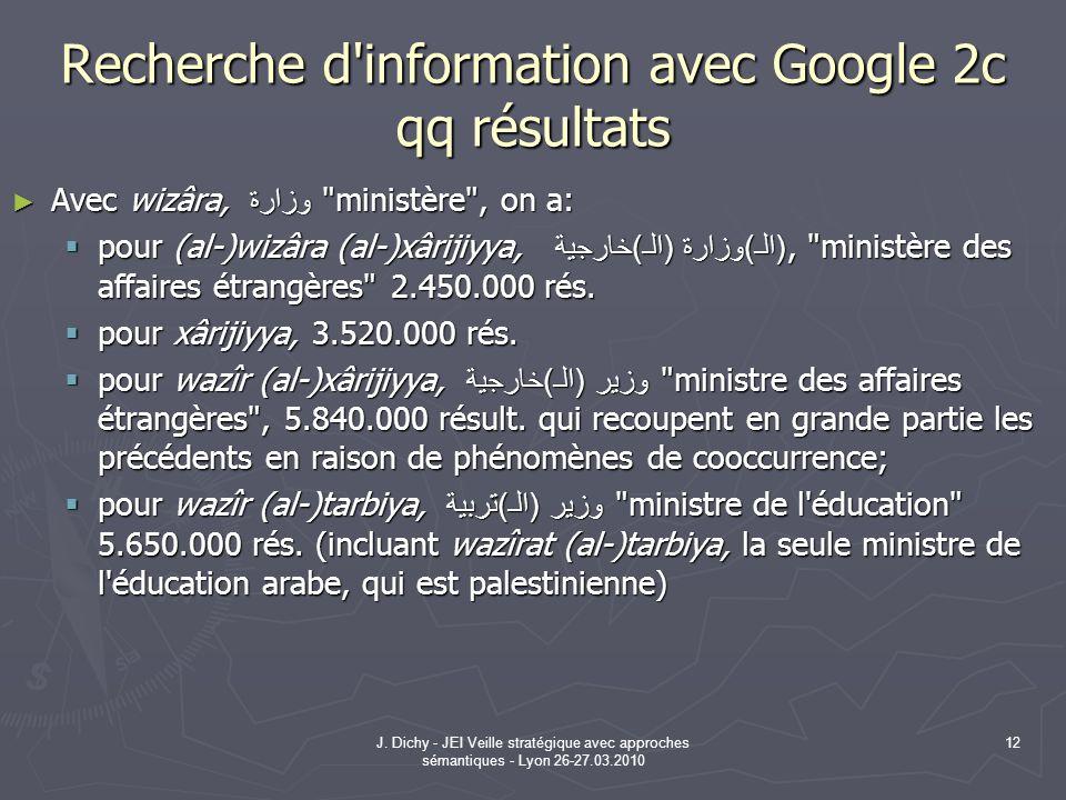 J. Dichy - JEI Veille stratégique avec approches sémantiques - Lyon 26-27.03.2010 12 Recherche d'information avec Google 2c qq résultats Avec wizâra,
