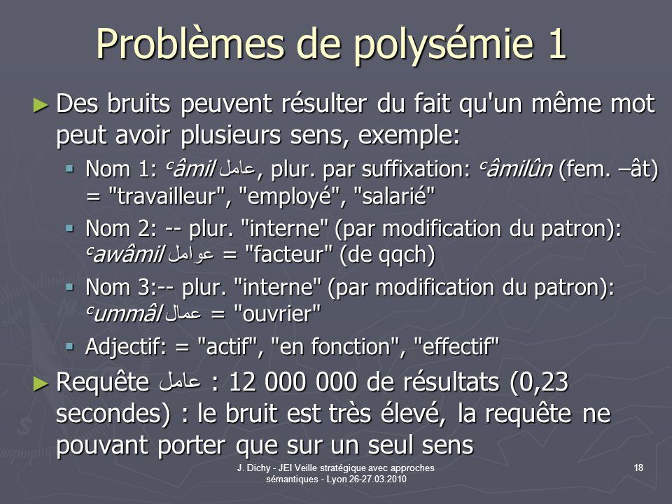 J. Dichy - JEI Veille stratégique avec approches sémantiques - Lyon 26-27.03.2010 18 Problèmes de polysémie 1 Des bruits peuvent résulter du fait qu'u