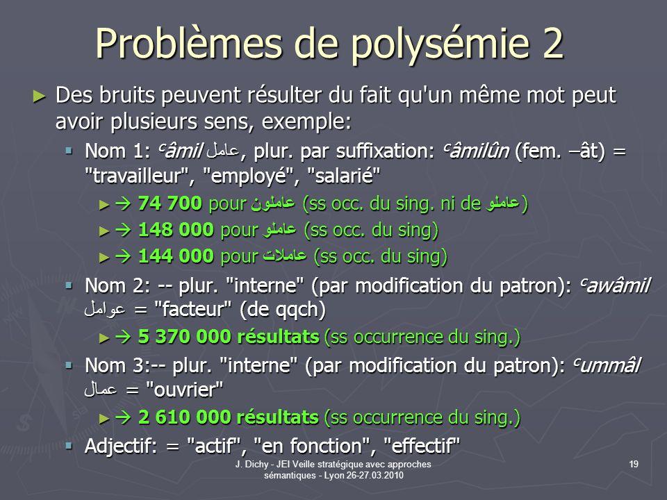 J. Dichy - JEI Veille stratégique avec approches sémantiques - Lyon 26-27.03.2010 19 Problèmes de polysémie 2 Des bruits peuvent résulter du fait qu'u