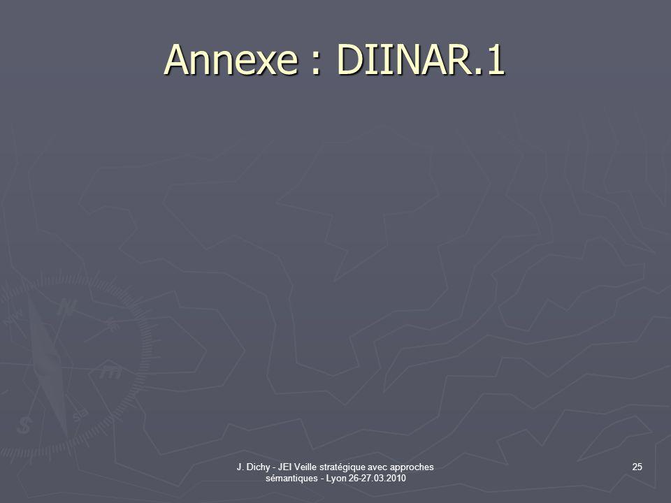 J. Dichy - JEI Veille stratégique avec approches sémantiques - Lyon 26-27.03.2010 25 Annexe : DIINAR.1