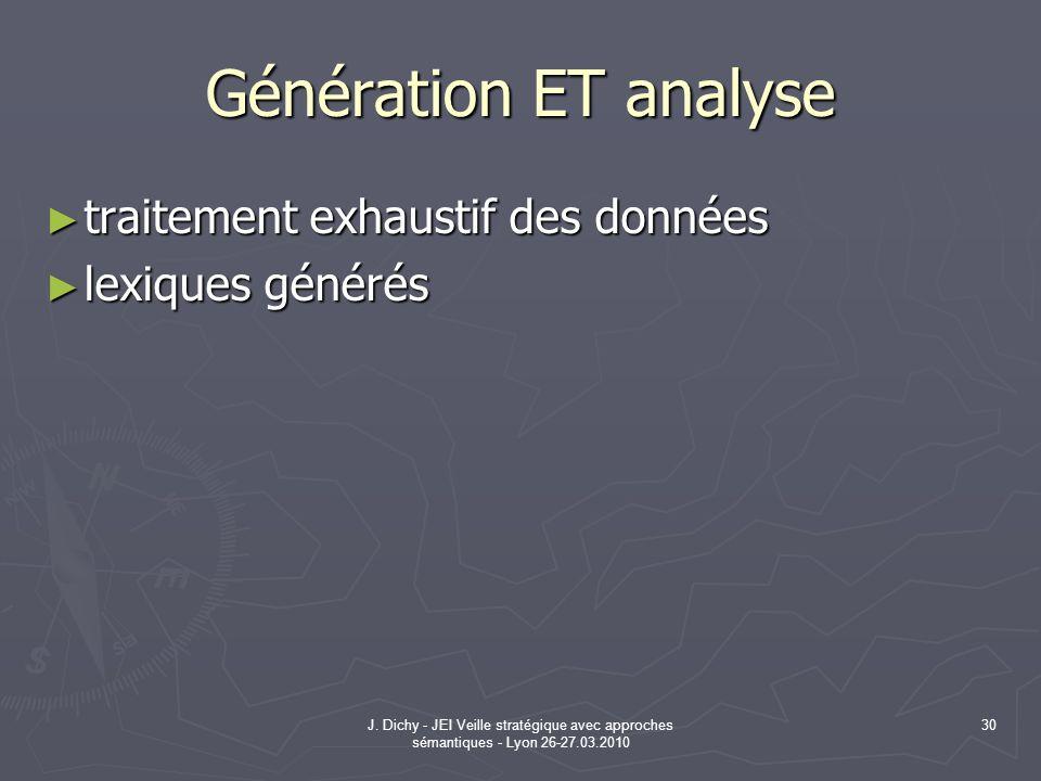 J. Dichy - JEI Veille stratégique avec approches sémantiques - Lyon 26-27.03.2010 30 Génération ET analyse traitement exhaustif des données traitement