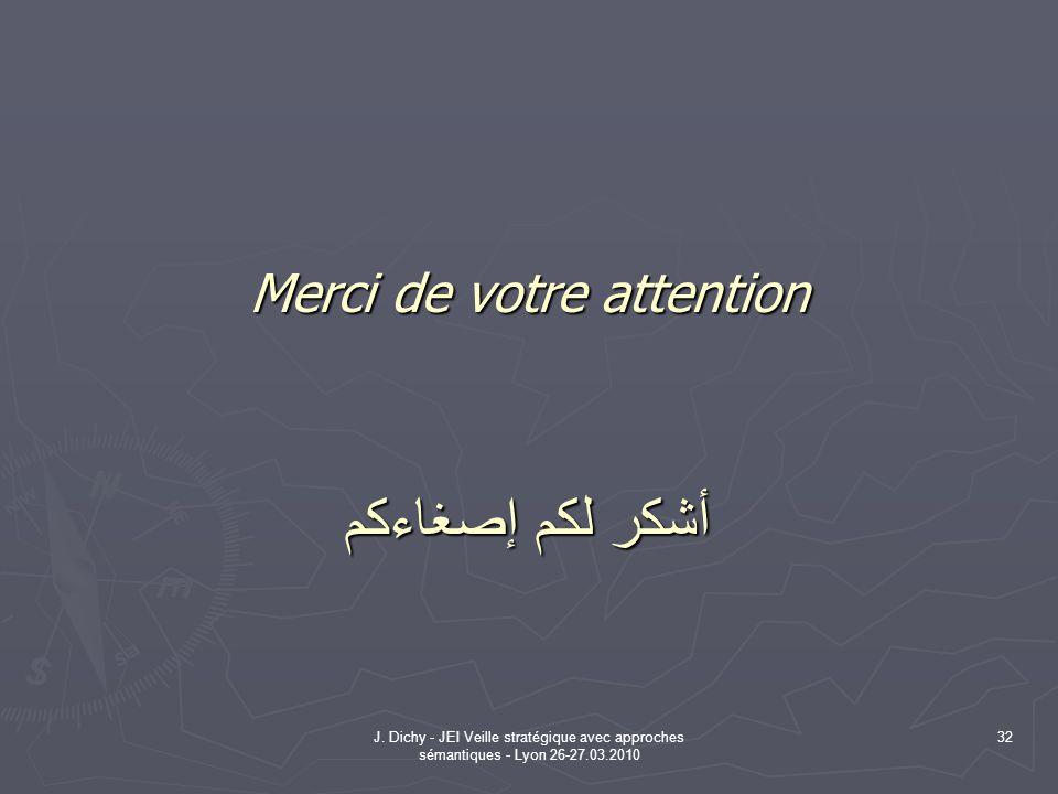 J. Dichy - JEI Veille stratégique avec approches sémantiques - Lyon 26-27.03.2010 32 Merci de votre attention أشكر لكم إصغاءكم