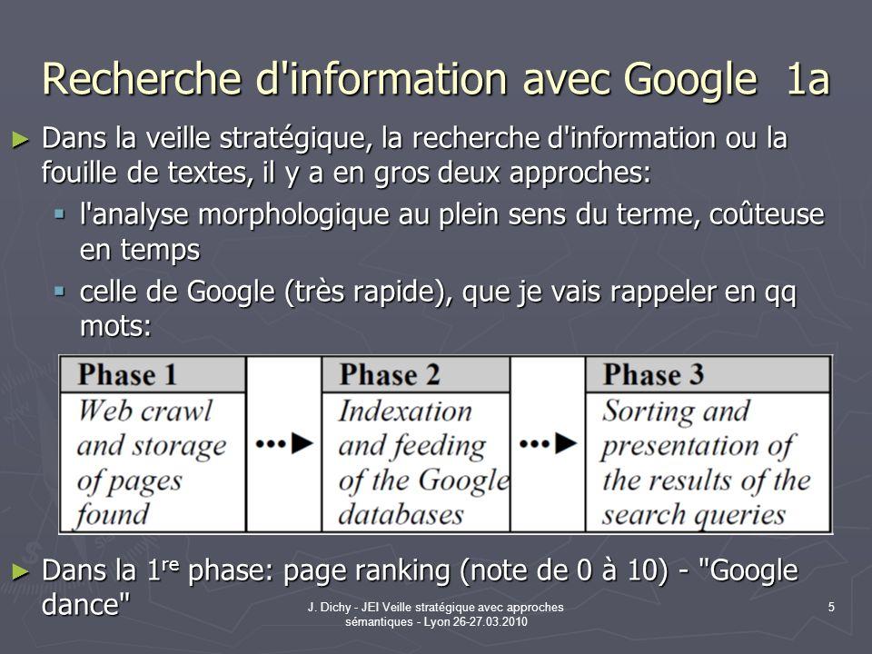 J. Dichy - JEI Veille stratégique avec approches sémantiques - Lyon 26-27.03.2010 5 Recherche d'information avec Google 1a Dans la veille stratégique,