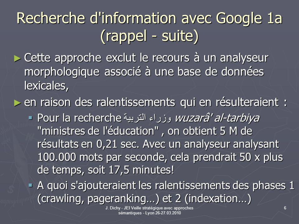 J. Dichy - JEI Veille stratégique avec approches sémantiques - Lyon 26-27.03.2010 6 Recherche d'information avec Google 1a (rappel - suite) Cette appr