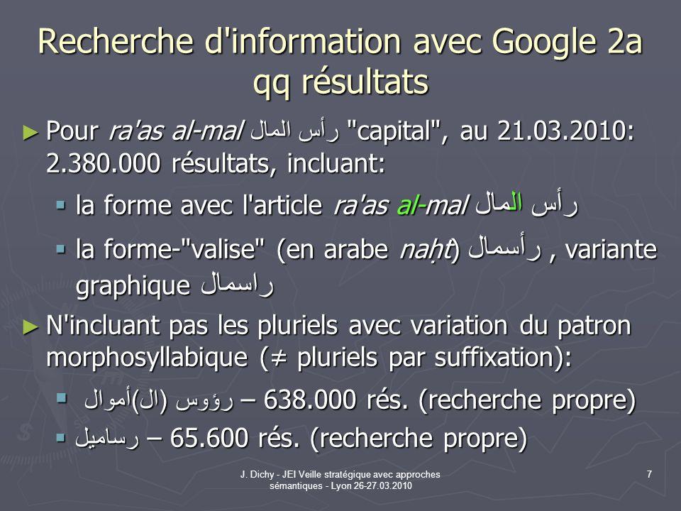 J. Dichy - JEI Veille stratégique avec approches sémantiques - Lyon 26-27.03.2010 7 Recherche d'information avec Google 2a qq résultats Pour ra'as al-