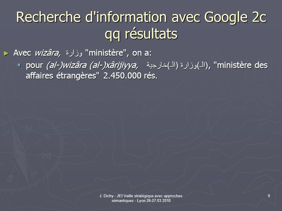 J. Dichy - JEI Veille stratégique avec approches sémantiques - Lyon 26-27.03.2010 9 Recherche d'information avec Google 2c qq résultats Avec wizâra, و