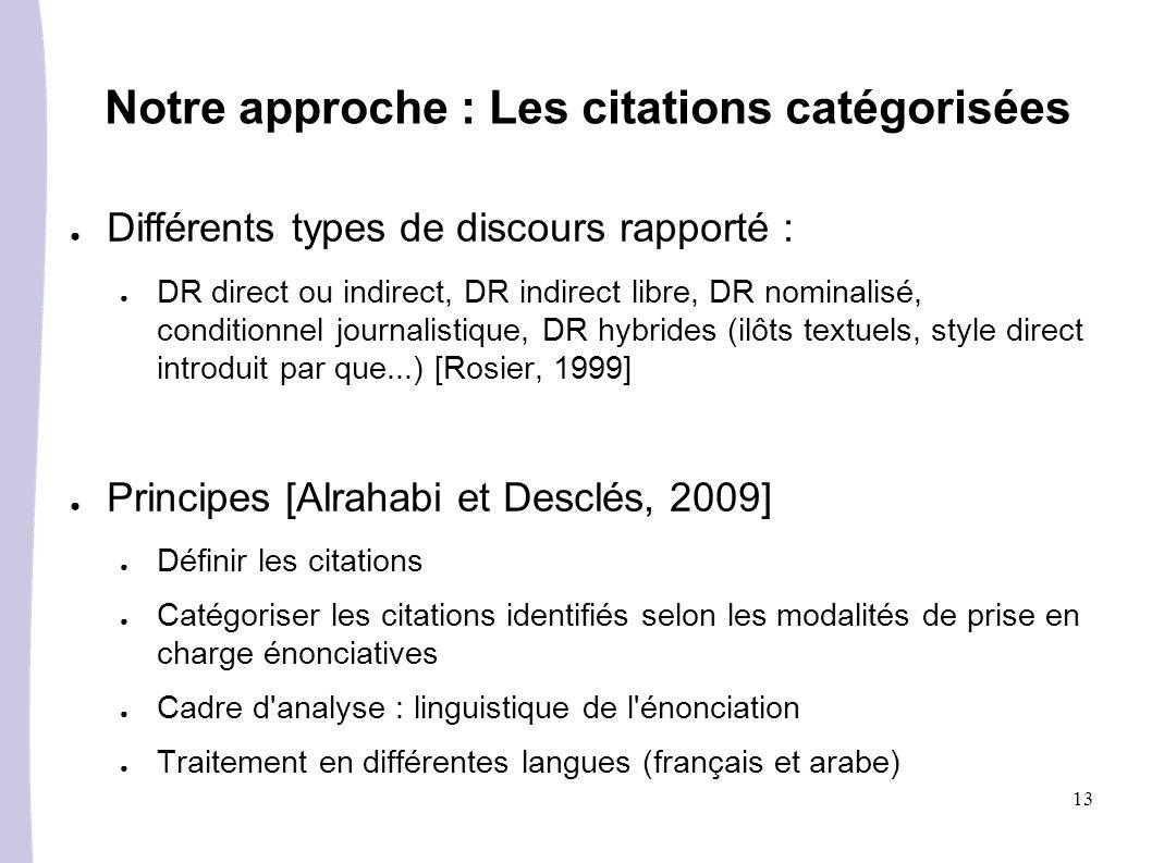 13 Notre approche : Les citations catégorisées Différents types de discours rapporté : DR direct ou indirect, DR indirect libre, DR nominalisé, condit