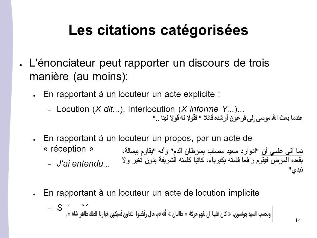14 Les citations catégorisées L énonciateur peut rapporter un discours de trois manière (au moins): En rapportant à un locuteur un acte explicite : – Locution (X dit...), Interlocution (X informe Y...)...