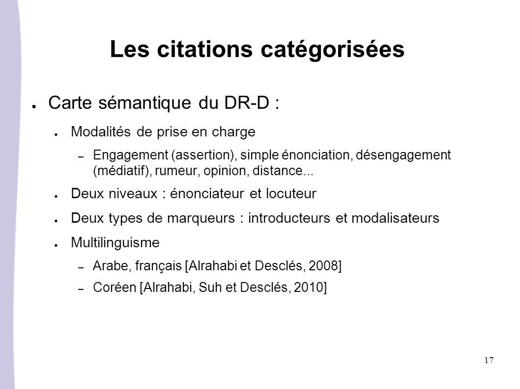 17 Les citations catégorisées Carte sémantique du DR-D : Modalités de prise en charge – Engagement (assertion), simple énonciation, désengagement (médiatif), rumeur, opinion, distance...