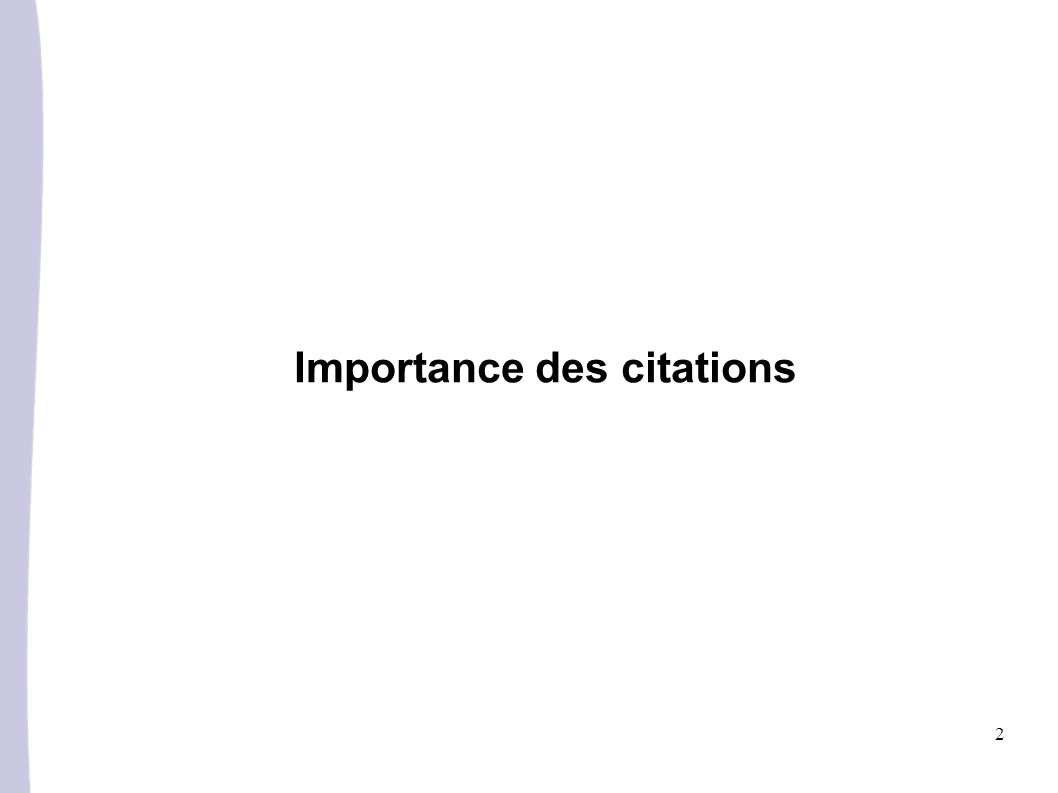 2 Importance des citations