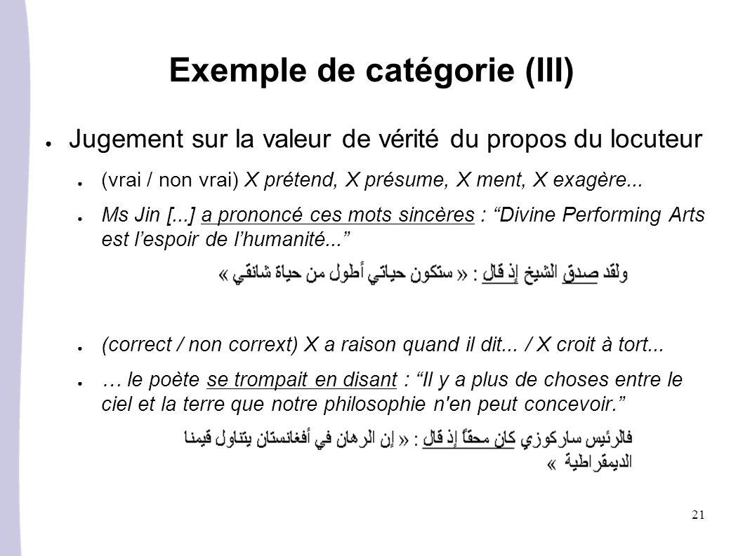 21 Exemple de catégorie (III) Jugement sur la valeur de vérité du propos du locuteur (vrai / non vrai) X prétend, X présume, X ment, X exagère... Ms J