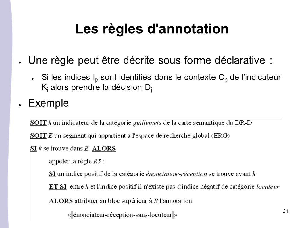 24 Les règles d annotation Une règle peut être décrite sous forme déclarative : Si les indices I p sont identifiés dans le contexte C p de lindicateur K i alors prendre la décision D j Exemple