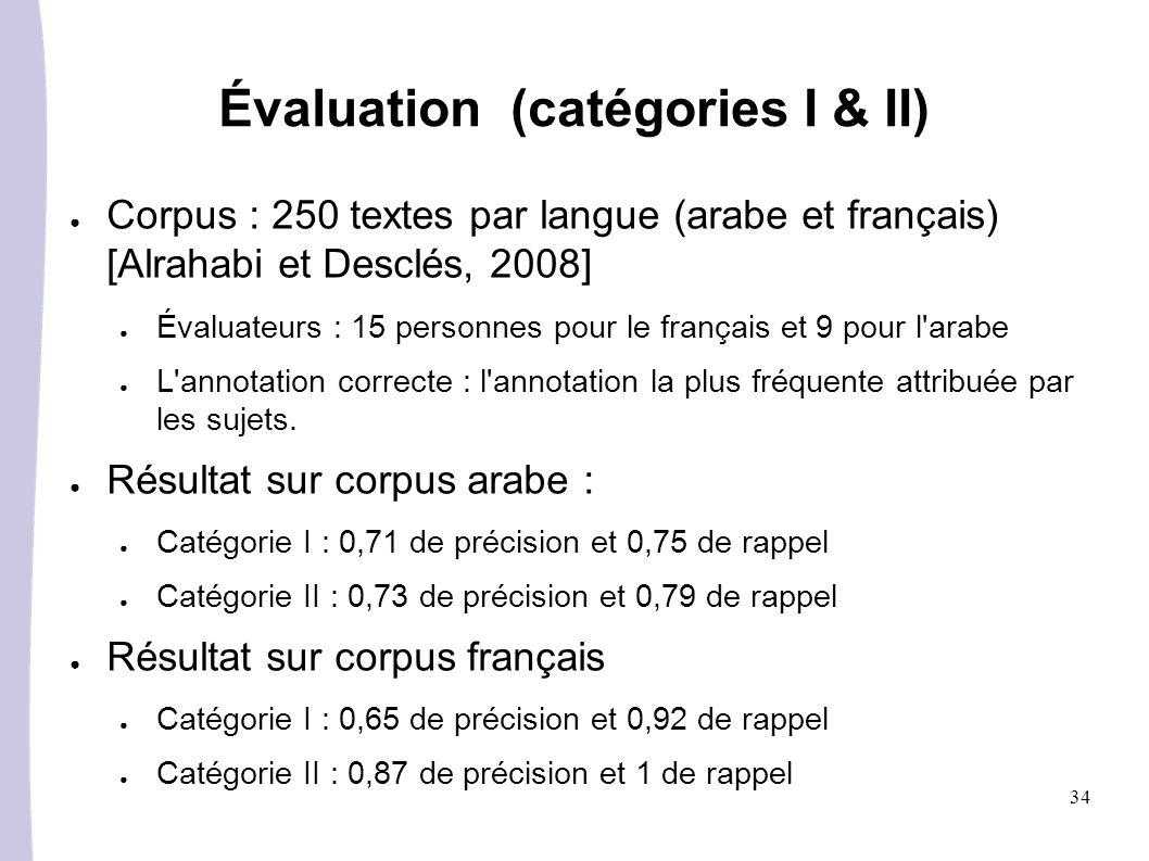 34 Évaluation (catégories I & II) Corpus : 250 textes par langue (arabe et français) [Alrahabi et Desclés, 2008] Évaluateurs : 15 personnes pour le français et 9 pour l arabe L annotation correcte : l annotation la plus fréquente attribuée par les sujets.