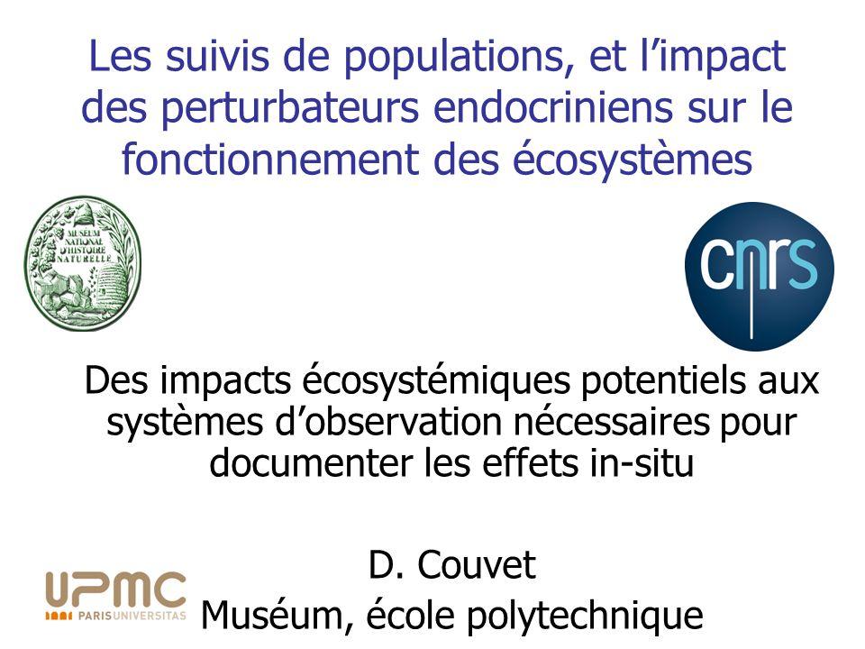 Des impacts écosystémiques potentiels aux systèmes dobservation nécessaires pour documenter les effets in-situ D. Couvet Muséum, école polytechnique L