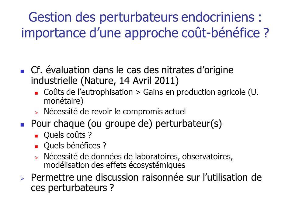 Gestion des perturbateurs endocriniens : importance dune approche coût-bénéfice ? Cf. évaluation dans le cas des nitrates dorigine industrielle (Natur