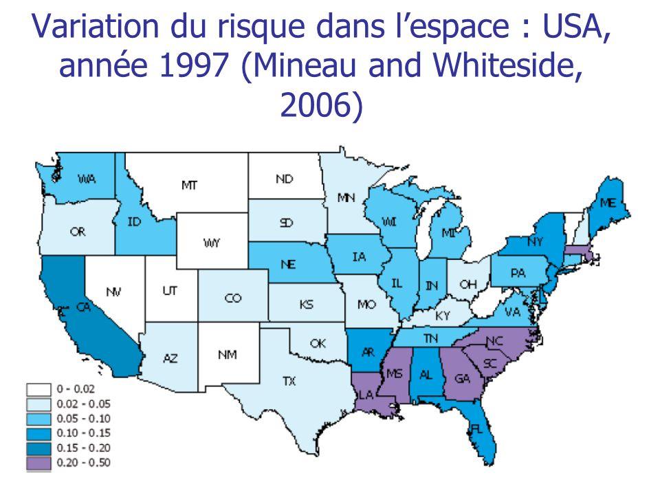 Variation du risque dans lespace : USA, année 1997 (Mineau and Whiteside, 2006)