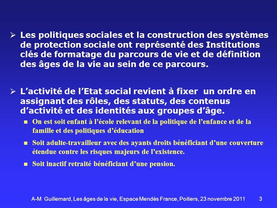 3 Les politiques sociales et la construction des systèmes de protection sociale ont représenté des Institutions clés de formatage du parcours de vie e