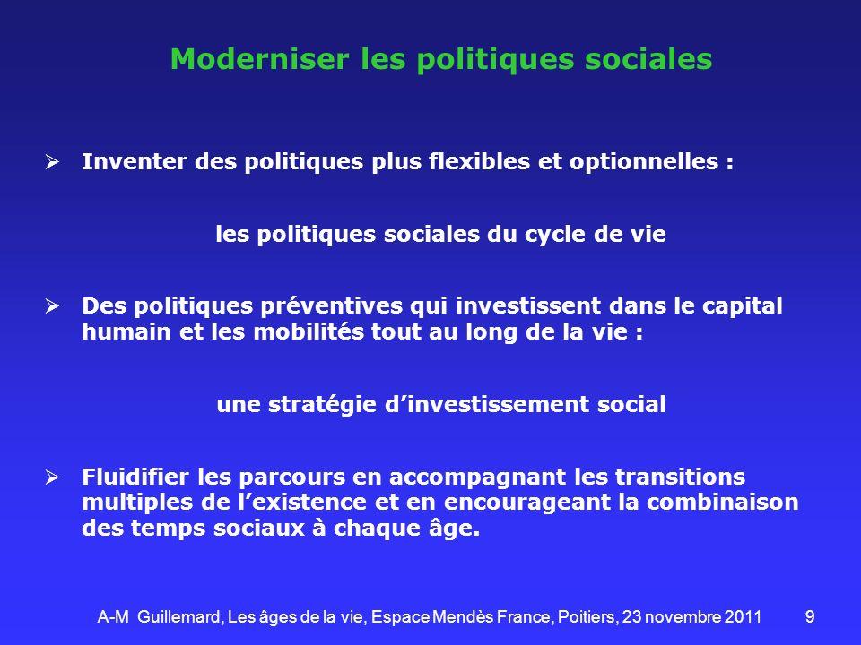 9 Moderniser les politiques sociales Inventer des politiques plus flexibles et optionnelles : les politiques sociales du cycle de vie Des politiques p