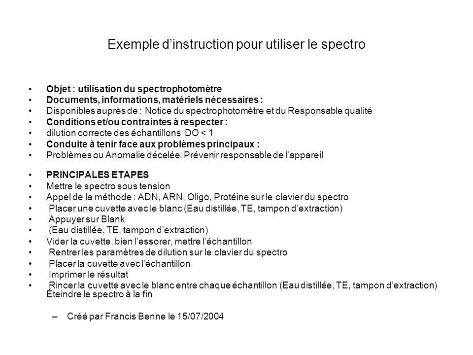 Exemple dinstruction pour utiliser le spectro Objet : utilisation du spectrophotomètre Documents, informations, matériels nécessaires : Disponibles au