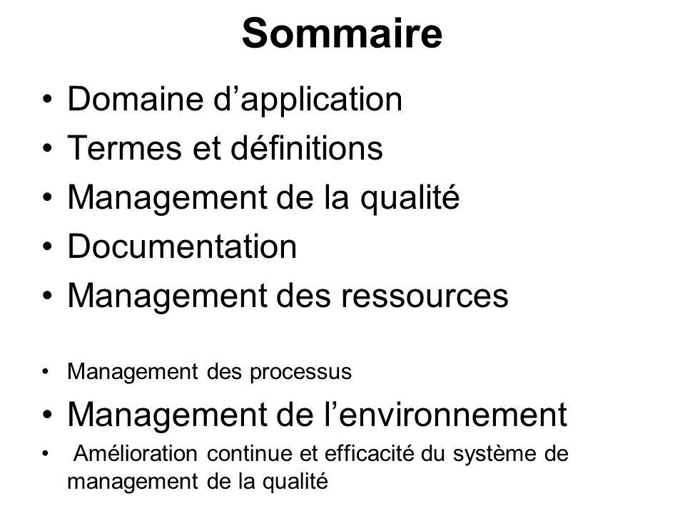 Sommaire Domaine dapplication Termes et définitions Management de la qualité Documentation Management des ressources Management des processus Manageme