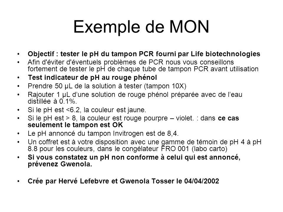 Exemple de MON Objectif : tester le pH du tampon PCR fourni par Life biotechnologies Afin d'éviter d'éventuels problèmes de PCR nous vous conseillons