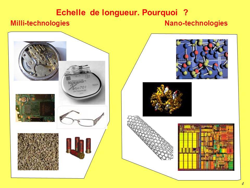 3 Les échelles de longueur Chat ~ 0.5 m Fourmi 1000 m Cheveu 50 m Globules ~ 2-5 m proteines 20 nm Atomes 0.1 nm nanomètre micromètre millimètre mètre
