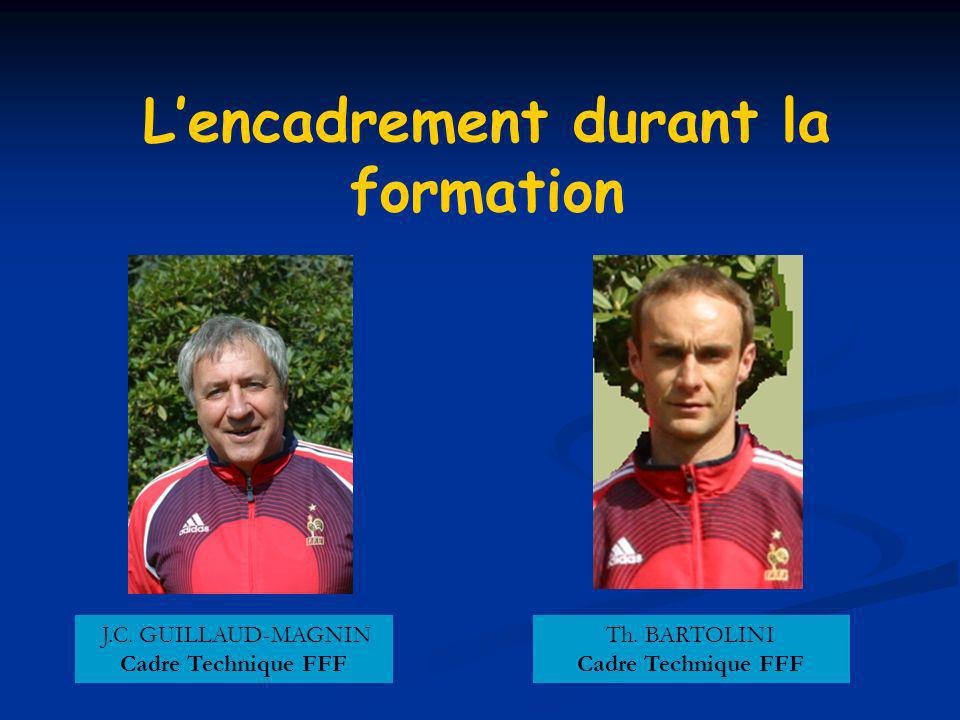 Lencadrement durant la formation J.C. GUILLAUD-MAGNIN Cadre Technique FFF Th.