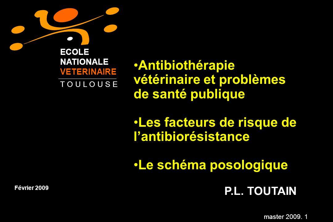 master 2009. 1 Antibiothérapie vétérinaire et problèmes de santé publique Les facteurs de risque de lantibiorésistance Le schéma posologique P.L. TOUT