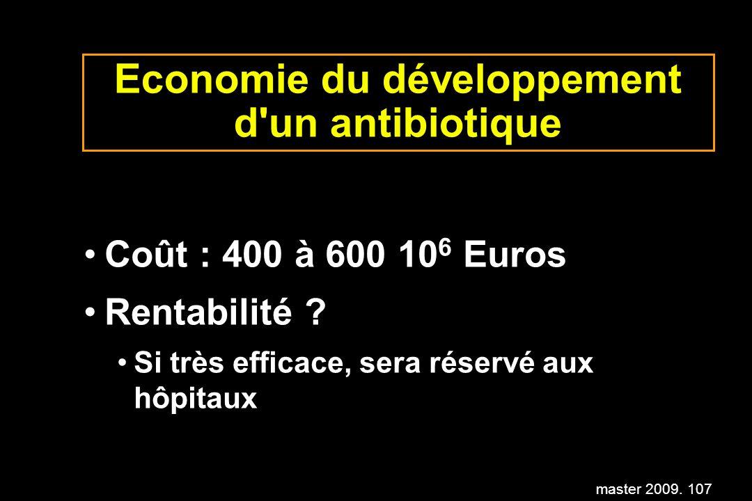 master 2009. 107 Economie du développement d'un antibiotique Coût : 400 à 600 10 6 Euros Rentabilité ? Si très efficace, sera réservé aux hôpitaux