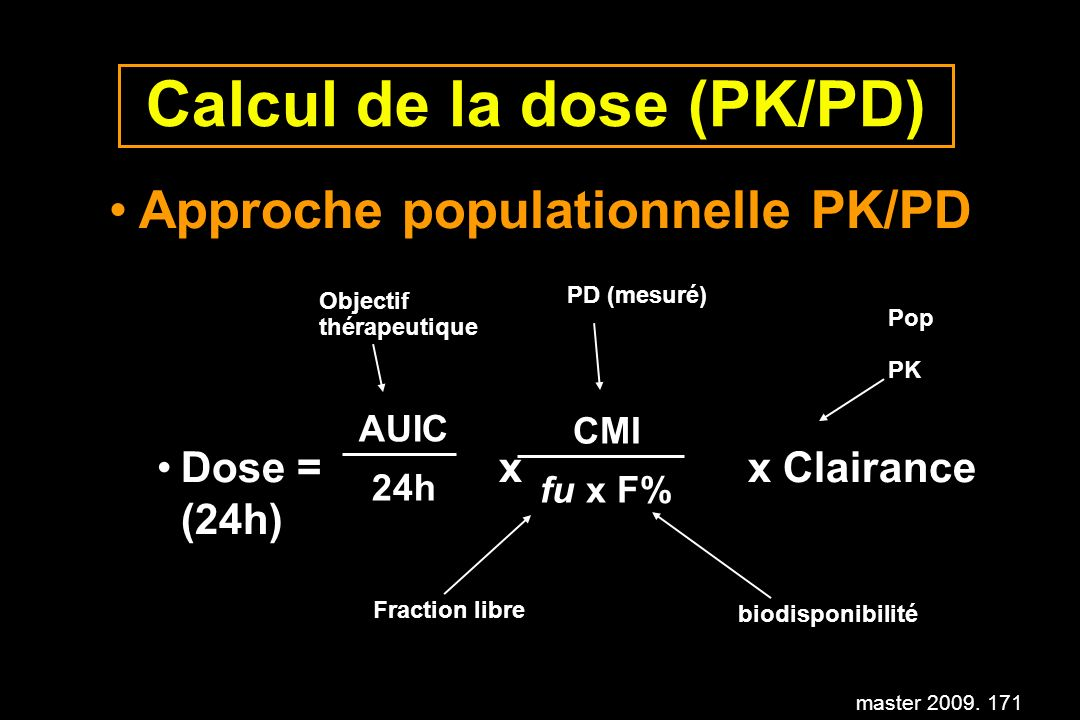 master 2009. 171 Calcul de la dose (PK/PD) Approche populationnelle PK/PD Dose = x x Clairance (24h) AUIC 24h CMI fu x F% Fraction libre biodisponibil